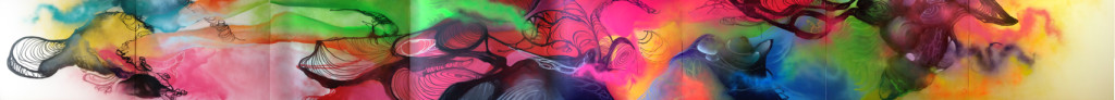 Graffiti abstracto con colores fluorescentes