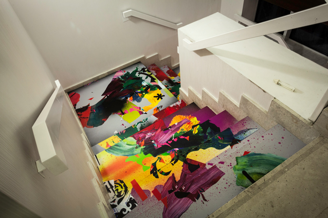 Escalera con Graffiti en Hotel de Madrid